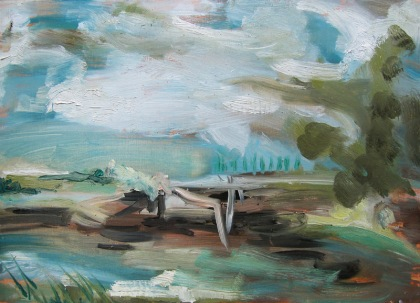 painting after constable, interpretation of Constable sketch, oil on board jenny meehan