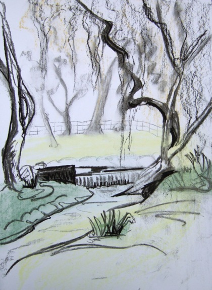 Sketch of West Dean Gardens by Jenny Meehan, charcoal and pastel