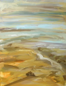 Recent painting by Jenny Meehan of the mud flats at Langstone Harbour 2009