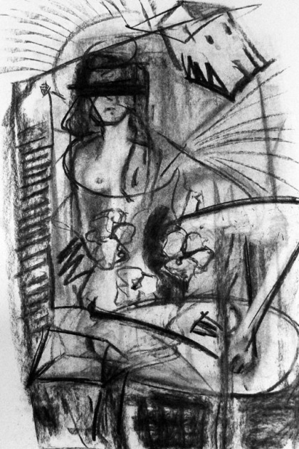 scraper charcoal drawing from imagination jenny meehan DACS copyrighted