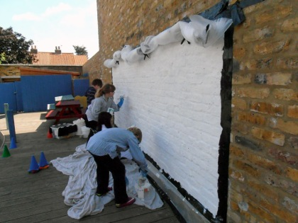 jenny meehan jamartlondon,school mural silicate mineral painting,trafalgar junior school twickenham playground mural project.