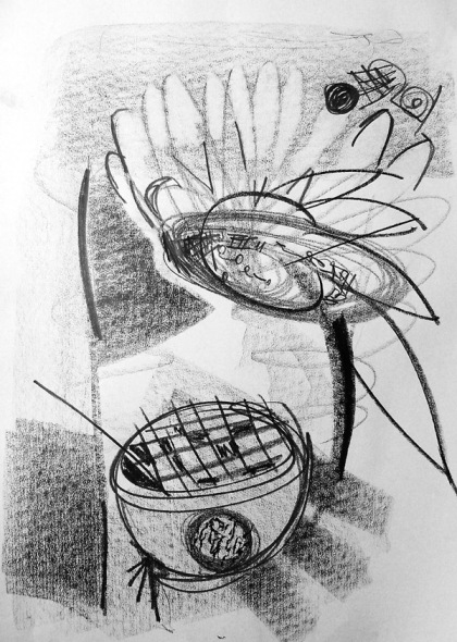 sunflower and rose bowl drawing jenny meehan graphite on cartridge paper