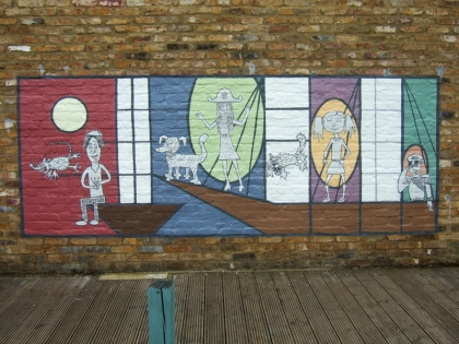 school playground mural painted with silicate mineral paints  Beeck and also Keim Soldalit, silica sol  jenny meehan project led, jamartlondon.