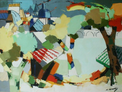 claude venard french painting,trees with sacre coeur in the distance detail colourist post cubist composition expressionist painting,landscape buildings trees subject
