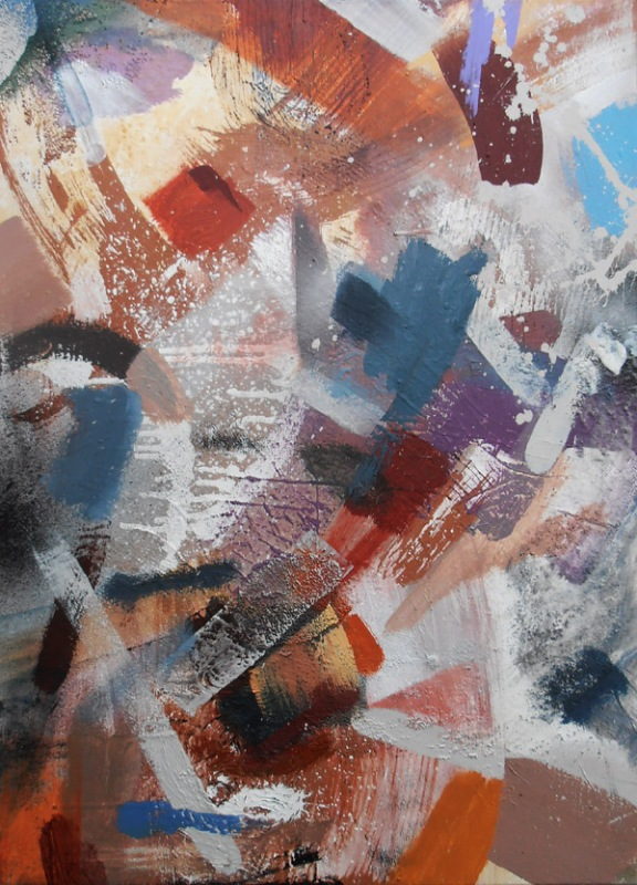 Abstract Acrylic Painting/Markmaking with Colour. Instinctive intuitive process led painting, psychotherapy and art,psychotherapy and painting, British Contemporary female artist painter Jenny Meehan