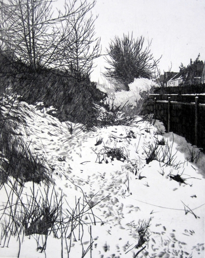 Hainton Track Snow by Melvyn Petterson etching mall gallery london 2013