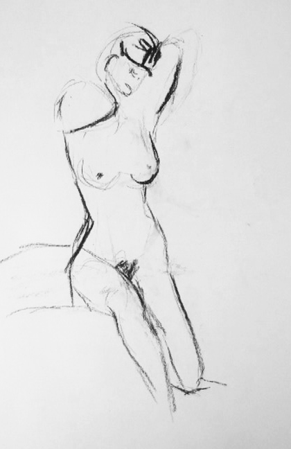 example of observational figure studies carried out at west dean college by jenny meehan exploring female figure, line,gesture, emotion and female form, jenny meehan
