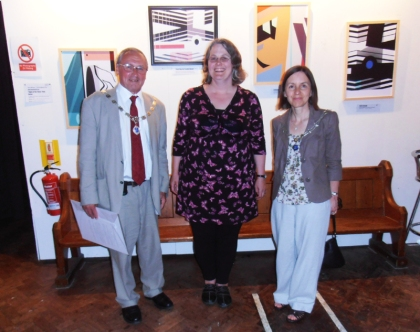 jamartlondon fine art prints emerging female british artist designer visual art exhibition event jenny meehan art prints exhibition cornerhouse with alan and miriam dean deputy mayor and mayoress of kingston upon thames