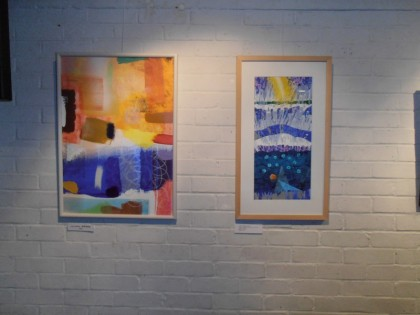 Jenny Meehan's painting (left) and Derek Turner's painting (right) at Order and KAOS exhibition