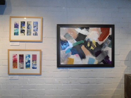 Derek Turner's(left) and Jenny Meehan's (right) paintings at Order and KAOS painting exhibition