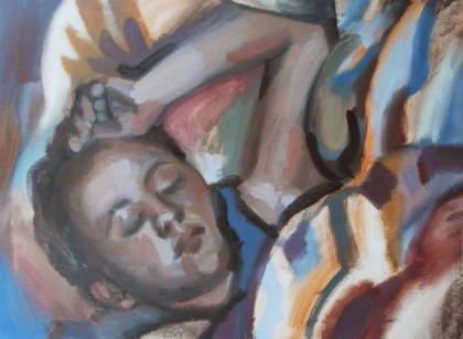 jenny meehan painting of sleeping girl, max beckmann influenced painting, dodd procter influenced painting,oil on canvas painting collectable british modern fine art, jenny  meehan uk 21st century female painter artist, figure painting contemporary modern