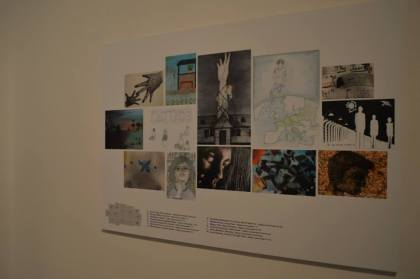 """Running (one)  painting for Holocaust Memorial Day by Jenny Meehan  is fourth along the bottom from the left of the image.  One of three entries to the """"Drawing Inspiration"""" Competition.  """"Running (one) was shortlisted """"Highly Commended"""""""
