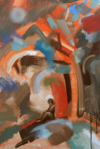 contemplative pray,garden of Gethsemane, oil painting christian artist painter,spirituality painting expression,expressive abstraction, jenny meehan contemporary female painter