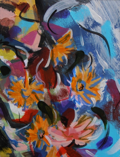 imaginative water and flowers painting, british modern expressionistic painting, Falling Flowers - Jenny Meehan