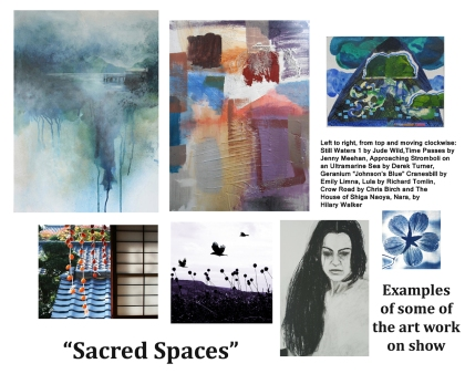 Sacred Spaces Art Exhibition at Leatherhead Theatre. Seven Artists from Kingston Artists' Open Studios show work on the theme of contemplation and spirituality