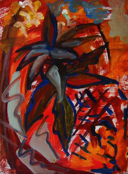 flower painting British Modern still life painting, Burst Forth - Jenny Meehan