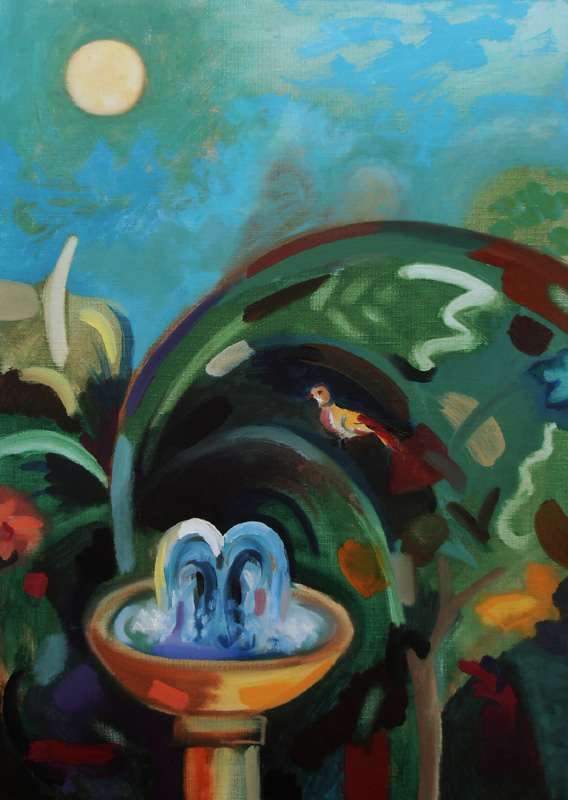 bird and fountain garden naive style rousseau type painting contemporar