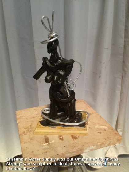 "Brown wax and aluminium in progress semi abstract sculpture of human figure - Jenny Meehan ""Thelma - Her Spirit is Strong"""