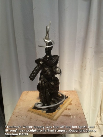 """Brown wax and aluminium in progress semi abstract sculpture of human figure - Jenny Meehan """"Thelma - Her Spirit is Strong"""""""