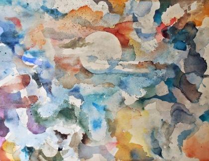 white dreamtime - wisdom of solomon by jenny meehan watercolour,retreat art,art spirituality,art subconscious,process led painting,christ centred artist,wisdom of solomon painting,jenny meehan painting watercolour,moon clouds watercolour,moon reflective light picture,