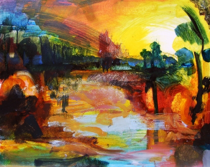 jenny meehan copyright DACS, oncoming realisation painting by jenny meehan