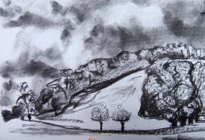 """ room for a view"" charcoal drawing by jenny meehan jamartlondon.com charcoal drawing landscape west dean college and west dean estate  jenny meehan romantic"