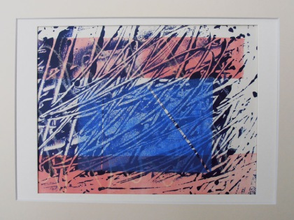 block peace mono type jenny meehan blue printing, print making, mono print, blue, pink, markmaking jenny meehan all rights reserved DACS