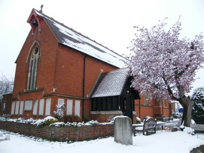 st pauls church of england church hook in snow