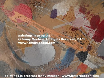 jenny meehan jamartlondon lyrical abstract expressionistic paintings in progress