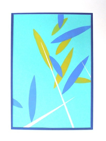 bamboo blowing monotype jenny meehan, blue yellow white abstract bamboo, bamboo print art buy,bamboo graphic print meehan,