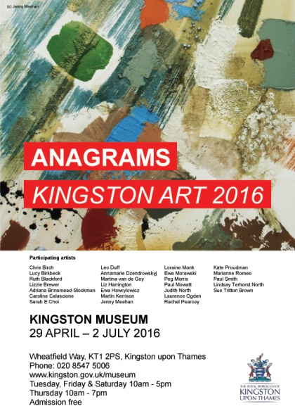 anagrams kingston art 2016 exhibition kingston museum jenny meehan unerring want of running water image used on poster