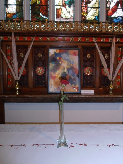 Love Bade Me Welcome inspired Altar Piece by Jenny Meehan Love Bade Me Welcome inspired Altar Piece by Jenny Meehan Holy Week art installation in St Paul's Church religious art Christian contemporary art in church buildings, jenny meehan christian contemplative artist painter poet, contemporary use of art in places of worship, art for worship prayer, religious symbolism in church, symbolic language of art in christianity,