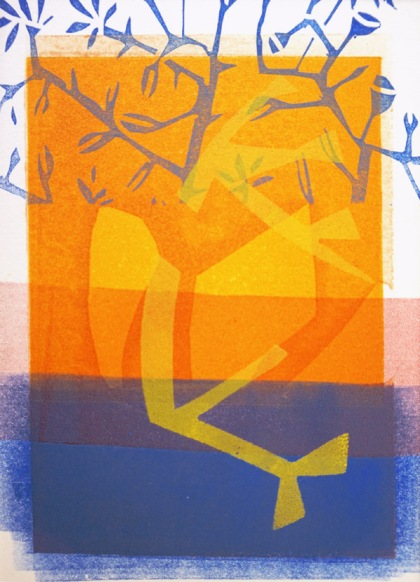 tree by water monoprint 2017