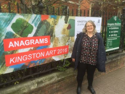 me in front of anagrams kingston museum banner surrey art event