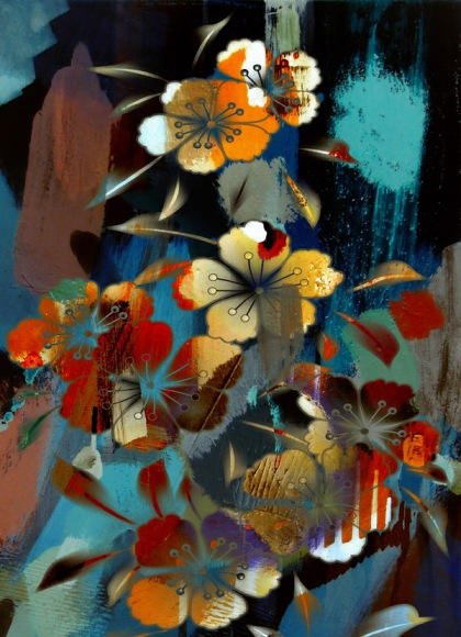 art and psychotherapy, art and psychoanalysis, art and subconscious, art and dreams, flower dream print by jenny meehan
