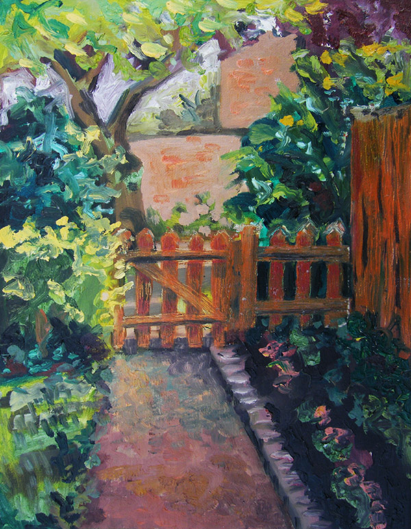 the garden gate oil painting by Jenny jenny meehan british contemporary artist©jenny meehan