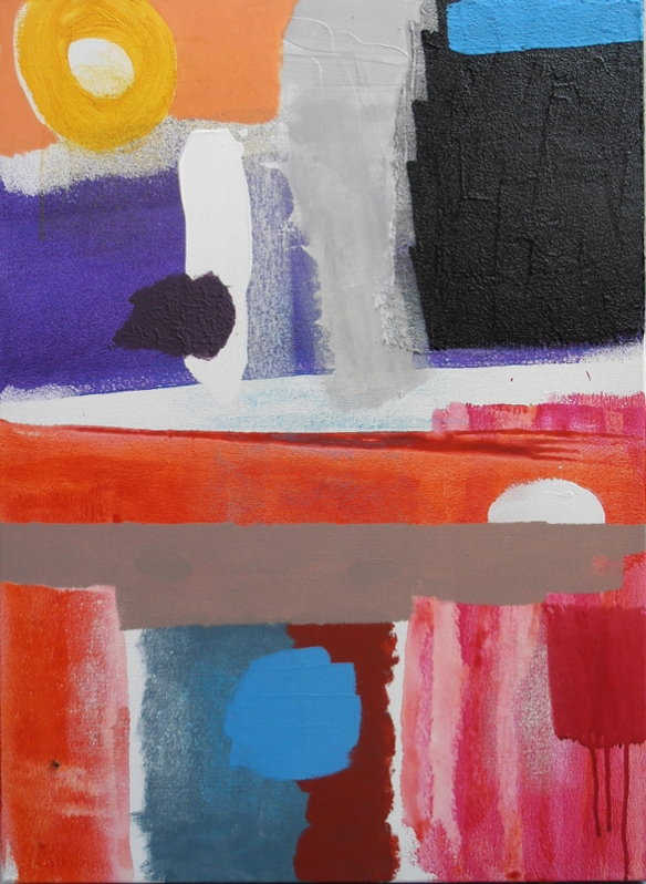 Painting title Upper Room British painting Lyrical Abstraction style by artist designer jenny meehan jennyjimjams colour blue white grey original  abstract artwork to buy and image licensing ©Jenny Meehan