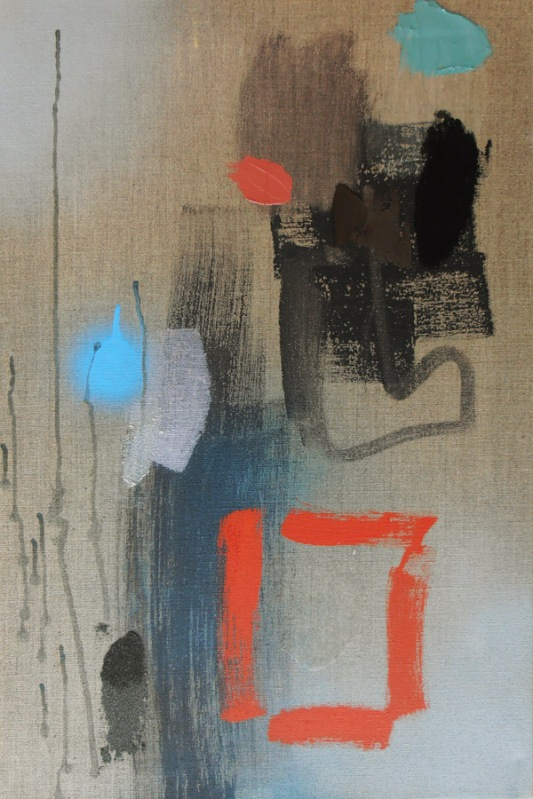 Title View British painting Lyrical Abstraction style by artist designer jenny meehan jennyjimjams colour blue white grey original  abstract artwork to buy and image licensing ©Jenny Meehan
