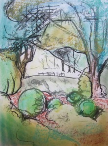 drawing by jenny meehan in West Dean Gardens Sussex