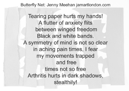 arthritis, humanising healthcare art, jenny meehan, jamartlondon,barts pathology museum exhibition, butterfly art,