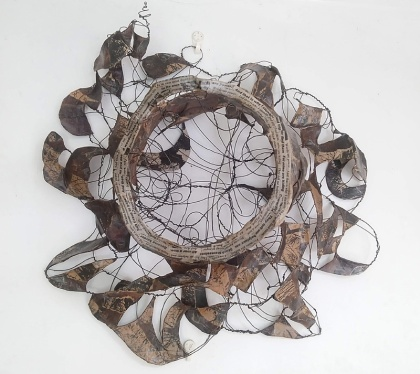 articulation sculpture, jenny meehan, wire and paper sculpture, psychotherapy, art therapy, subconscious, healing art, trauma recovery, british artist,