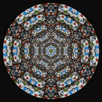 """Poor art"" parody; A Damien Hirst ""style"" Mandala created from waste and without assistants."" ©jenny meehan print for Kingston Museum KAOS exhibition"