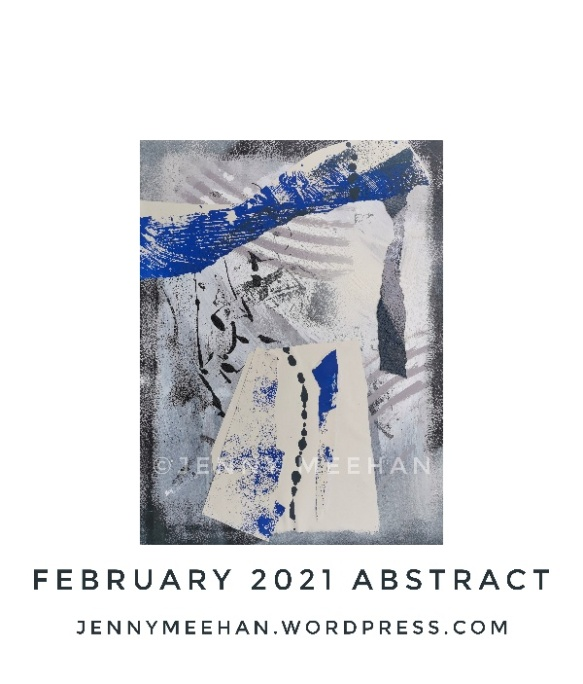 British painting Lyrical Abstraction style by artist designer jenny meehan jennyjimjams colour blue white grey original abstract artwork to buy and image licensing ©Jenny Meehan