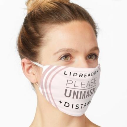 Masks for deaf people in Coronavirus Pandemic Reusable facemasks Redbubble shop designer jenny meehan jennyjimjams