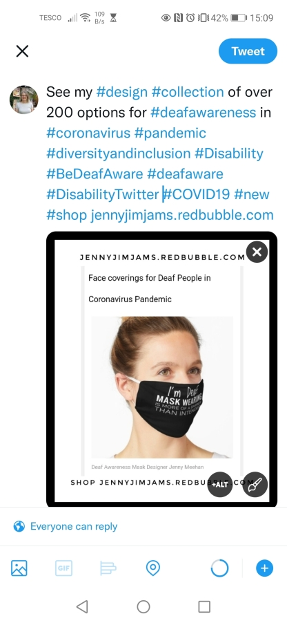 Be deaf aware, deaf awareness masks, lipreaders badges stickers, hearing aids and hearing loss, Signage designs for Disability communication prompts, hearing impairment collection, reusable mask shop, autism, special needs, hard of hearing products to buy, jennyjimjams jennymeehan, deaf awareness products for sale, inclusive designs, diversity and inclusion, artist design disabilities shop