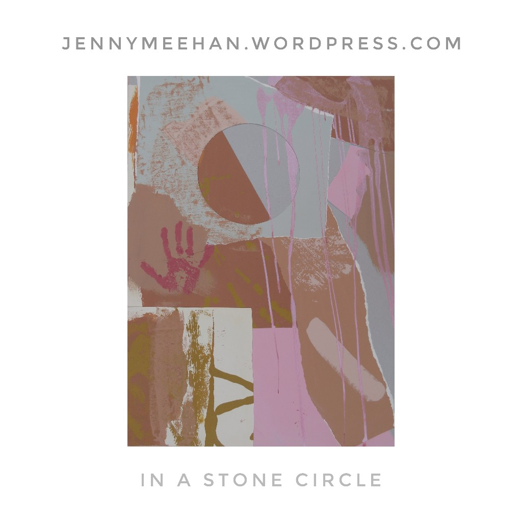 In a stone circle music inspired abstract art painting collage by British artist jenny meehan AKA jennyjimjams, abstract art with silicate mineral paints, keim mineral paints, period houses with abstract art paintings, historic colour palette paints in interior design home decor